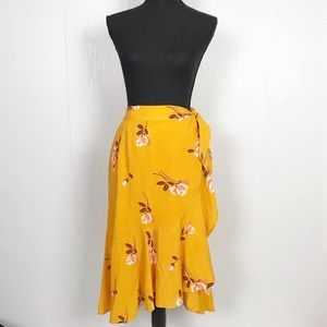 FreePeople Mustard Yellow Floral Ruffle Wrap Skirt